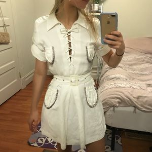 Missoni white belted lace up mini w/ pocket detail